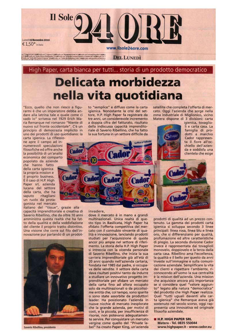 articolo-il-sole-24-ore-2 high-paper-cador-produzione-carta-igienica-asciugatutto-tovaglioli-miglionico-matera-basilicata